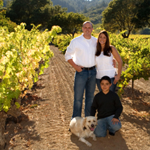 family portrait in vineyard