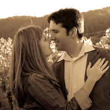 engagement photo in vineyard